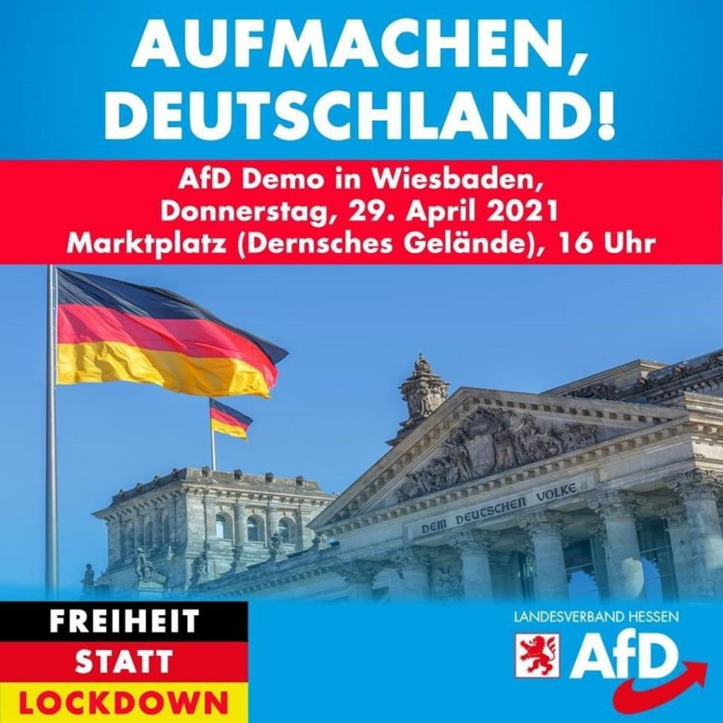 AfD ruft zur Anti-Lockdown-Demo auf