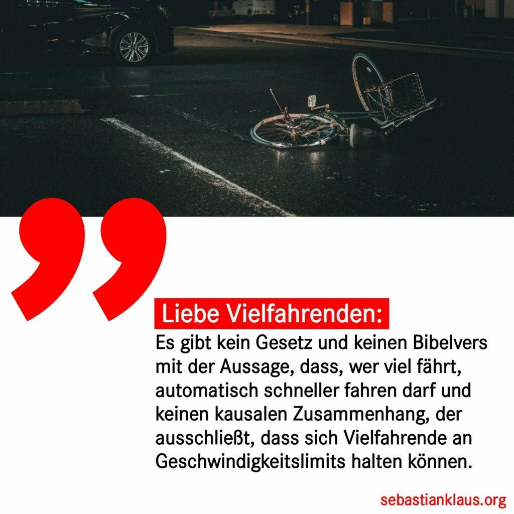 sharePic: Es gibt kein Gesetz und keinen Bibelvers mit der Aussage, dass, wer viel fährt, automatisch schneller fahren darf. Auch gibt es keinen kausalen Zusammenhang, der ausschließt, dass sich Vielfahrende an Geschwindigkeitslimits halten können.